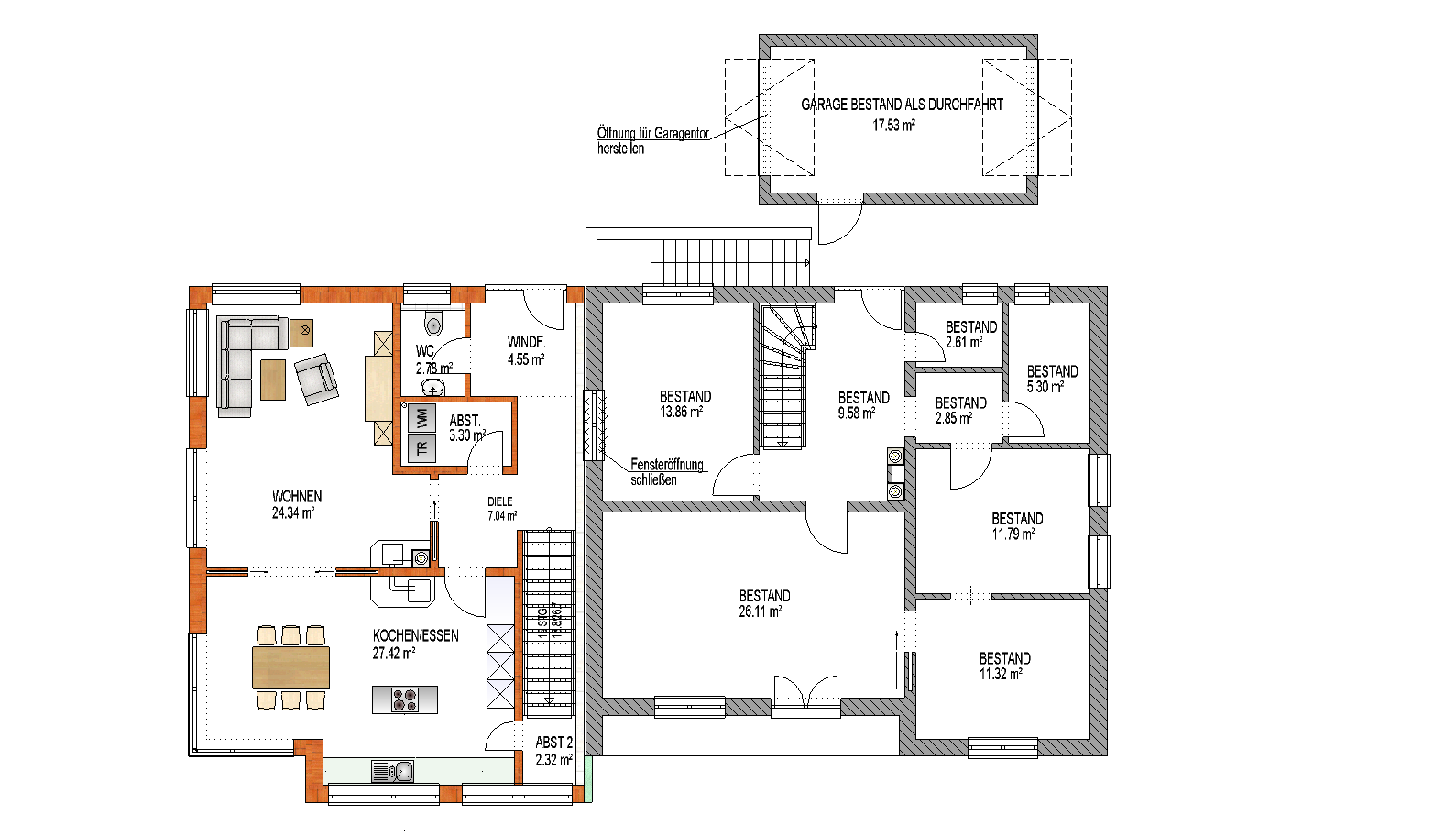 Anbau Eines Einfamilienhauses An Bestandsgebude In